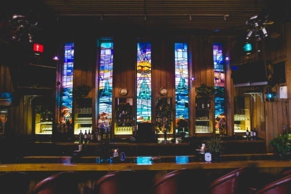 Bar with a stained glass display.